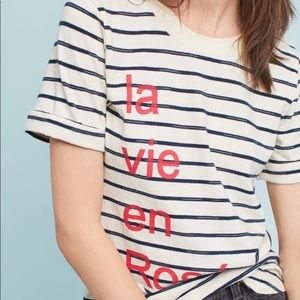 Anthropologie X Sol Angeles graphic Striped tee